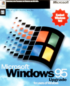 Microsoft Windows 95 operating system cover shot.