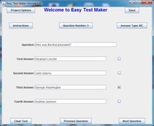 Easy Test Maker: main question window