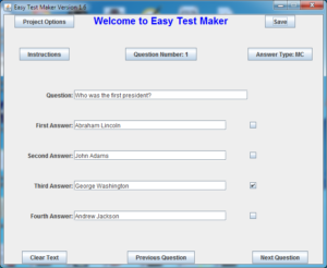 Easy Test Maker: main question window